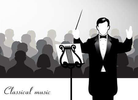 Managing orchestra conductor Vector