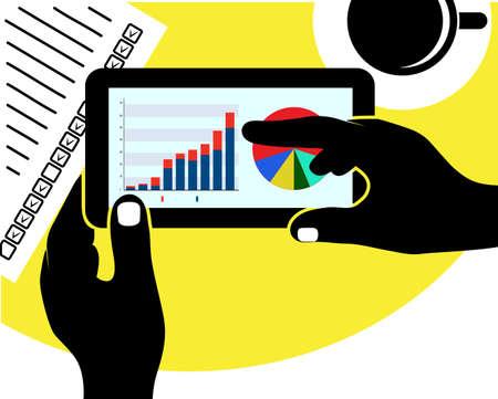 tablet with the economic schedule in hands Vector