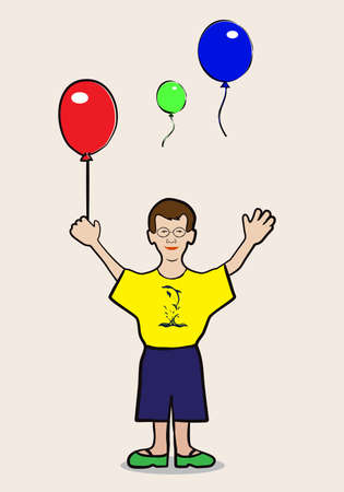 jovial: boy with balloons