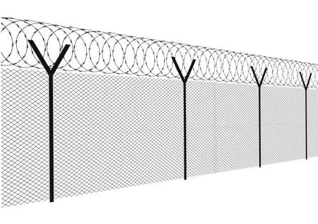 barbed wire fence: Modern fence on a white background