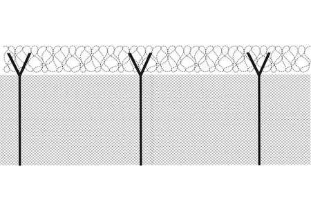 barbed wire fence: Modern fence on a white background vector Illustration