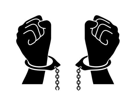 chains broken off by hands Vector