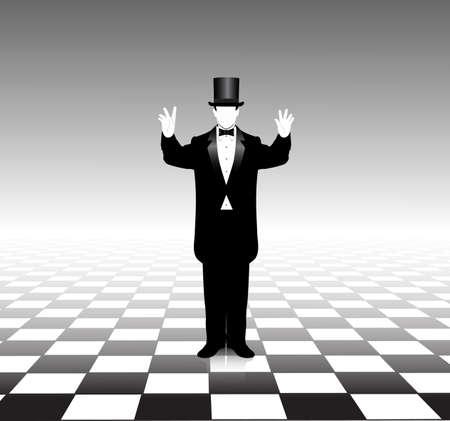 tie tuxedo: magician silhouette