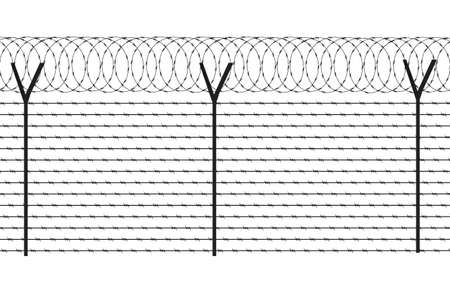 fencing element from a barbed wire Vector