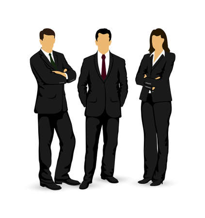 standing: drawings businessmen on a white background