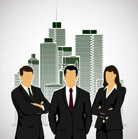 city background: businessmen on city background