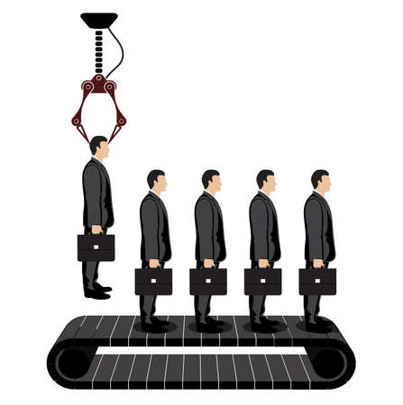 selection of a businessman on a conveyor Vector