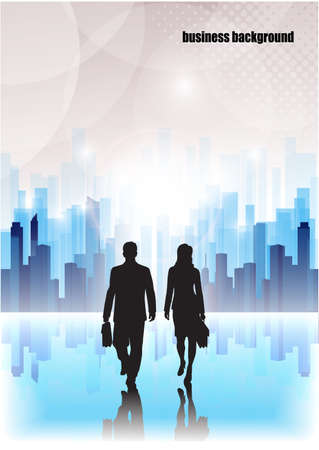 casual business team: businessmen go on an abstract background of the city
