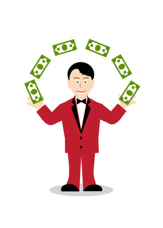 scatters: cheerful person scatters dollars