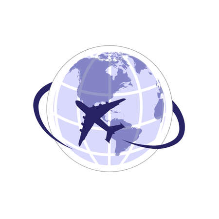passenger aircraft: plane on the background of the planet symbol travel