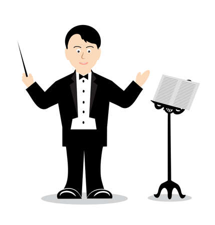 drawing cheerful conductor Vector