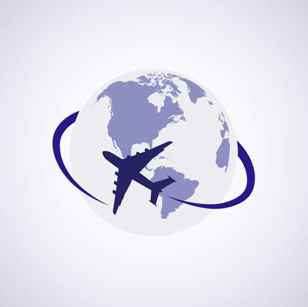plane on the background of the planet symbol travel Vector