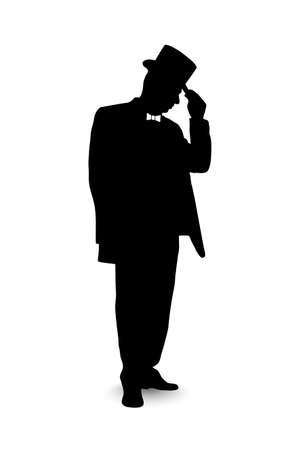 Silhouette eines Gentleman Standard-Bild - 28827907