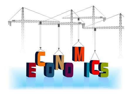 desarrollo económico: grúa monta la palabra economía Vectores