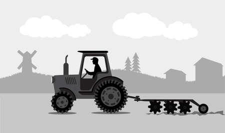 arando: tractor procesa la tierra un paisaje rural
