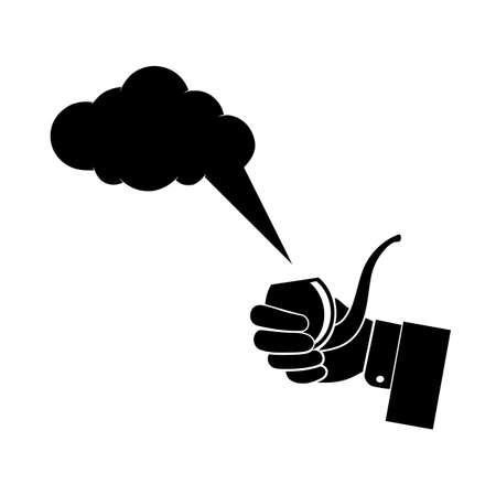 smokers: hand holding a smoking pipe