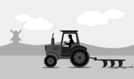 labranza: tractor procesa la tierra un paisaje rural