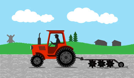 tractor processes the earth a rural landscape Vector