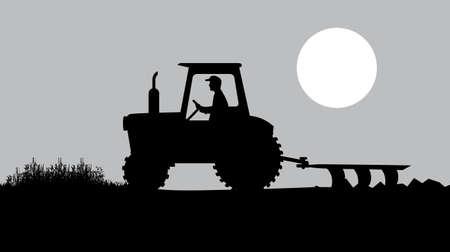tillage: contadino che lavora un paesaggio rurale Vettoriali