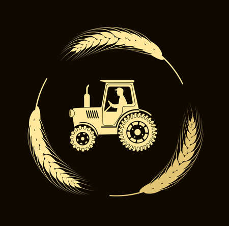 cultivated land: tractor in bread ears