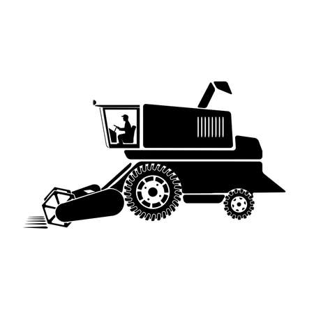 husbandry: combine harvester on a white background