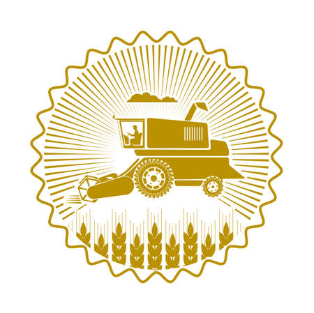icon combine harvester of wheat ears Illustration