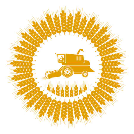 harvester: icon combine harvester of wheat ears Illustration