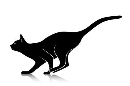 black cat: silhouette of a playing cat Illustration