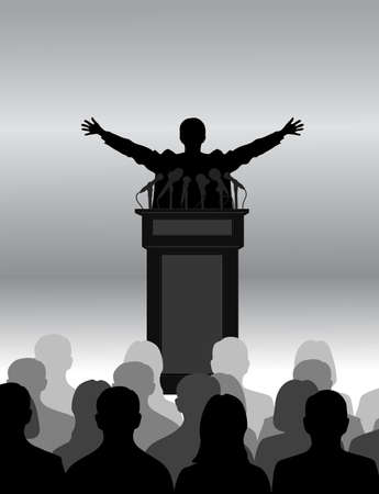 press conference: silhouette of the person among public