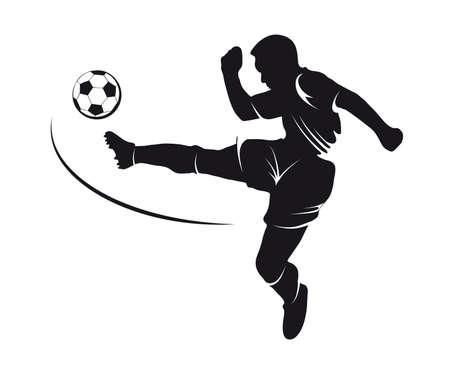 Silhouet van een voetballer slaan op een bal Stockfoto - 29264561
