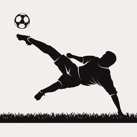 Silhouette eines Fußballspielers Schlagen auf einem Ball