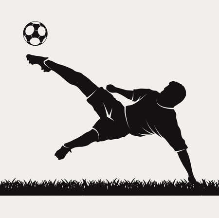 silhouette of a footballer beating on a ball Illustration