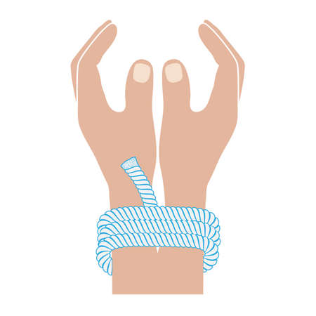 impede: connected hands drawing in flat style