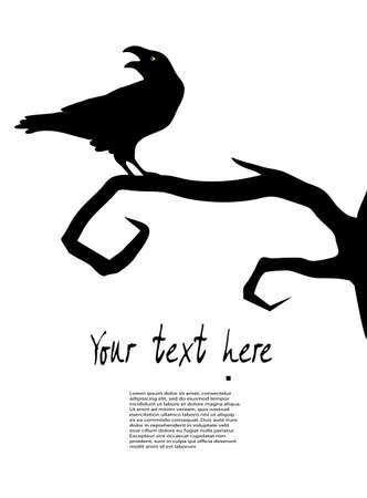 toter baum: Rabe sitzt auf einem Baum Illustration