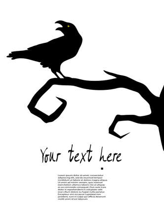 dead tree: raven sits on a tree Illustration