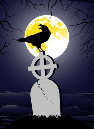 churchyard: raven sitting on a cross