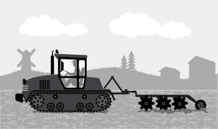 tillage: trattore elabora la terra un paesaggio rurale