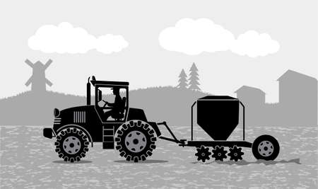 tractor processes the earth a rural landscape Illustration