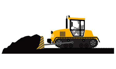 earthmover: bulldozer working on a white background Illustration