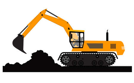 Excavator working on a white background Vector