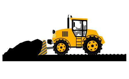 bulldozer working on a white background Vector