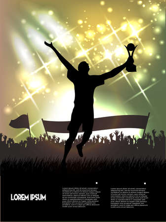 searchlights: figure of the champion with a cup against a color background from searchlights