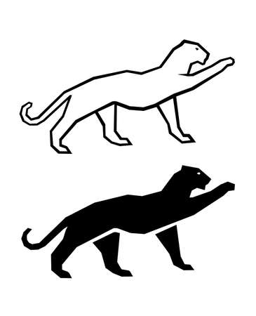 puma: cat silhouette on a white background Illustration