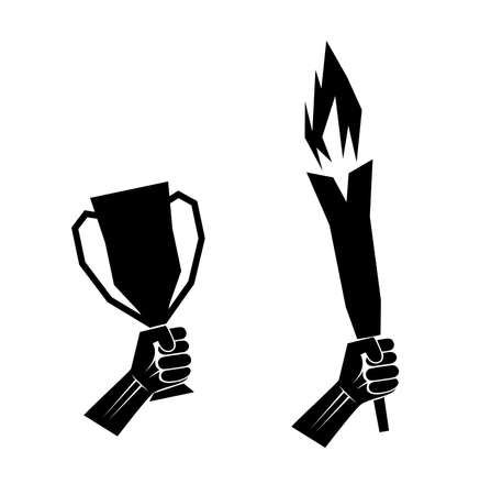 torch flame: silhouette sport symbol in hand