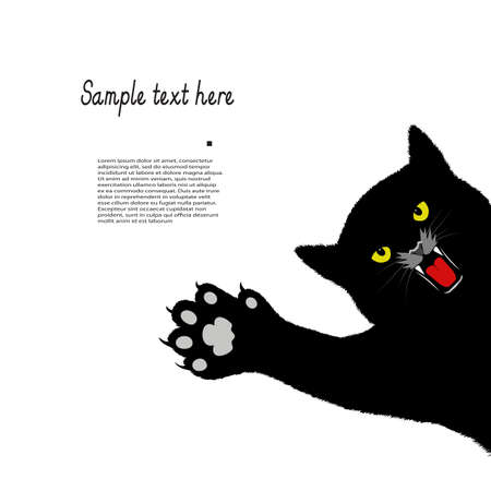 hunter playful: playing cat on a white background with space for your text