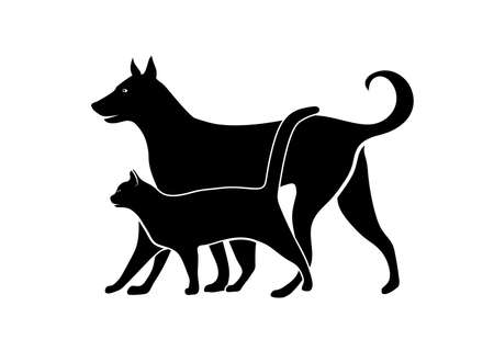 cat silhouette: silhouette of pets Illustration