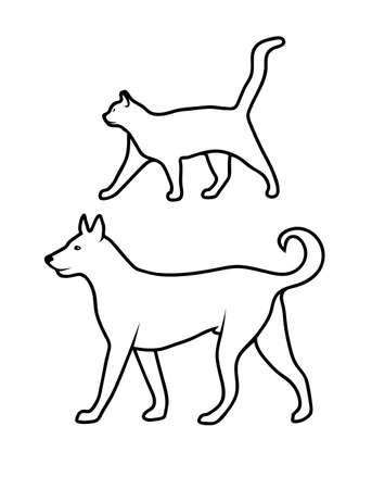 dog standing: silhouette of pets Illustration