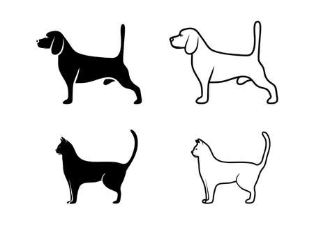 silhouette of pets Vector
