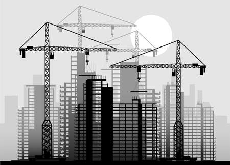 high rise: building an industrial background in it is black white color
