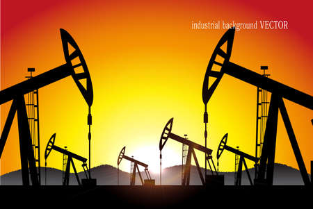 oilwell: industrial background vector Illustration